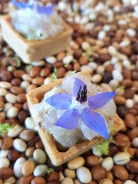 Tartelette de petits pois, tartare de perches et fleur de bourrache - crédit photo Walery Osowieky